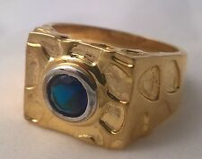 G-Filled Mens 18k yellow gold simulated blue sapphire ring round Gentlemen's new