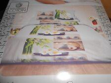 parure 220 x 240 cm ZEN bambou fleur galet, housse couette + 2 taies -neuve