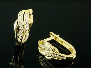 750 Gold Creolen kleine Scharnier Creolen 13,5 mm 1 Paar mit 24 Zirkonia Steinen