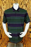 Mens Nike Golf DryFit Multicolor Striped Athletic Golf Polo Shirt Size Large L