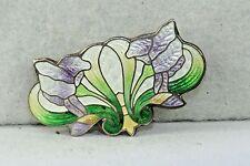 ART NOUVEAU ANTIQUE STERLING SILVER PURPLE IRIS FLOWER ENAMEL PIN - PERFECT