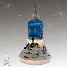 Beleuchtete Glocke blau aus Glas, mundgeblasen und handbemalt, 18cm Höhe Lauscha