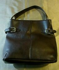TOMMY HILFIGER Brown Leather/Faux Leather Hand Bag w/SilverToned Buckles & Trim