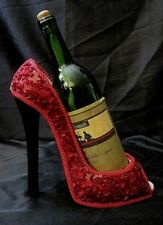 "Ceramic ""Ruby Slipper"" Wine Caddy - Peep Toes, Stiletto Heel, Outrageously Red!"