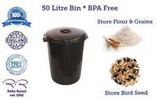 50L 50 Litre Food Grade Bin Flour Rice Grain Bird Seed Animal Feed Locking Lid