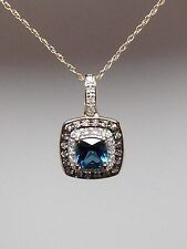 10K Yellow Gold Blue Topaz with White and Champagne Diamond Halo Pendant New
