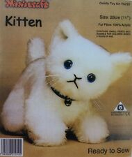 White Kitten Cat Soft Toy Kit - Cuddly Craft Fur Fabric - Gift Children Sew Make