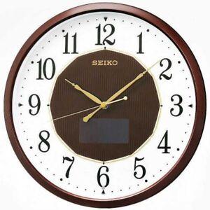 SEIKO SF241B Hybrid Solar Wall Clock Brown Metallic From Japan with Tracking