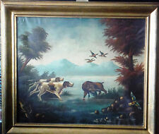 Fine1800's Dutch Master Dogs Hounds Flushing Ducks Antique Original Oil Painting