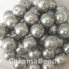 10mm Glass faux Pearls - Silver Grey (40 round beads) jewellery making, craft