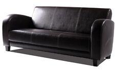 3-Sitzer POLSTERSOFA SOFA Couch ANTO Kunstleder Antikbraun Füße Nussbaumfarben