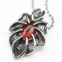 Silver pendant solid stainless steel necklace red cz gothic vintage style 60cm