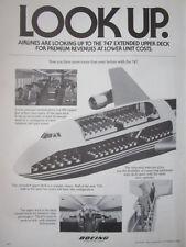 8/1982 PUB BOEING 747 AIRLINER ECORCHE PASSENGER HOTESSE DECK ORIGINAL AD