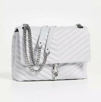 REBECCA MINKOFF 'Edie' Flap Shoulder Bag Quilted Ice grey silver $298 LOU
