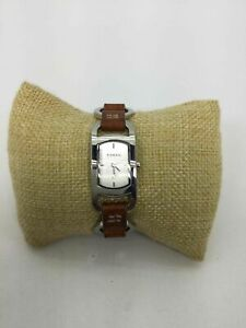Fossil Brown Leather Band St. Steel Wrist Watch
