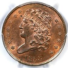 1833 PCGS MS 64 RB Classic Head Half Cent Coin 1/2c