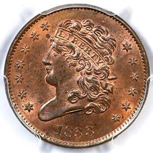 1833 PCGS MS 64 RB Classic Head Half Cent Coin 1/2c