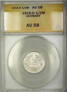 1916-D Germany 1/2M Mark Silver Coin ANACS AU-58