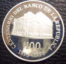 URUGUAY 1996 100 Pesos - Centennial Banco de la Republica SILVER 900 25g. UNC