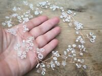 Rose Gold Long Hair Vine Pearl floral crown bridal Headpiece Prom bridesmaids uk