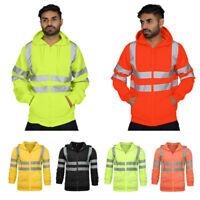 Hi Vis 2 Tone Outwear Reflective Sweatshirt Jacket Hooded Work Hoodie Top Hoody