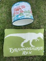 John Lewis Little Home Dinosaurs T-Rex Triceratops Lampshade & Cushion Bedroom