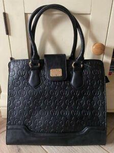 Ladies Black Faux Leather Zipped Handbag Bag - 34 x 31 x 12cms - Moda - VGC