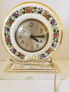Vintage 1950s SESSIONS Mid Century Porcelain Ceramic Electric Mantel Shelf Clock