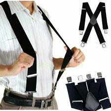 Vintage Mens Elastic Suspenders Leather Braces X-Back Adjustable Clip-on Black