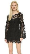 Free People Guinevere Scalloped Black Lace Bell Sleeve Mini Dress $248 Sz 4