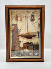 "Nautical Theme Wooden Shadow Box Handcrafted Fishing Scene 18""x12"" Wall Display"