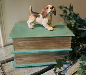 Shabby Vintage Tin Box Buchbox Fake With Beagle Dog From Meander 20cm New