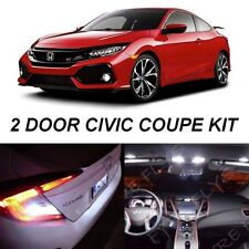For 2016-2018 Civic Coupe White LED Interior Lights & Reverse Package +Tool HC4W