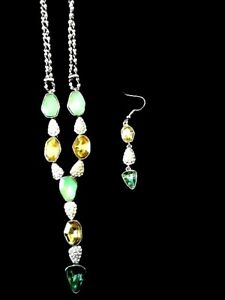 Kaftan Accessories / Stunning Necklace Set / Emerald & Topaze colour/ RR $69.95