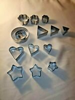 Vintage Circles, Stars & Hearts 15ea. Metal Cooky Cutters - Cookie Cutters