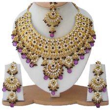 Gold Plated Jodha's Kundan Zerconic Bollywood Necklace Set Jewelry ES6-