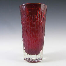Whitefriars/Baxter Ruby Red Glass Textured Vase 9831