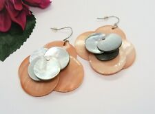 Nice! Silvertone Gray & Peach Mother Of Pearl Cluster Pierced Dangle Earrings!