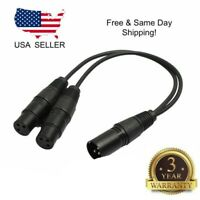 XLR Male Plug to Dual 2 Female Jack Y Splitter Mic DJ Cable Adaptor 16 AWG 3-Pin