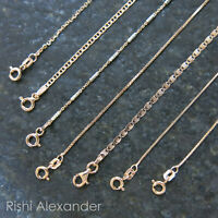 REAL Unique Rose Gold Jewelry SOLID Rose-Sterling Silver Chain Italian Necklace