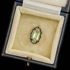 Antique Vintage Deco Sterling Silver Rhodium Vaseline Glass Necklace Pendant