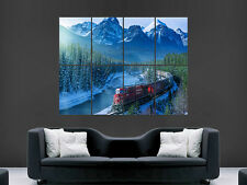 TRAIN LOCOMOTIVE CANADA SNOW MOUNTAINS WALL POSTER ART PICTURE PRINT LARGE