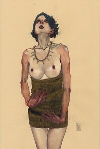 Lena With Hands And Sketches LOT2X 10x15in Watercolor - Nude Figure Leo Charre