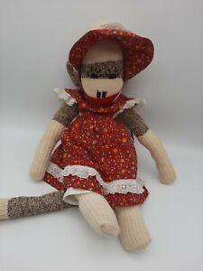 """Sock Monkey Wearing Dress Bloomers & Bonnet 15"""" Homemade?"""