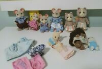 SYLVANIAN FAMILY CALICO CRITTERS GROUP LOT MOUSE AND FOX FAMILY