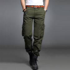 Men Cargo Pants and Belt Camo Trouser Work Multi Pocket Military Combat Army