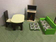GORGEOUS Kidkraft Wooden Barbie Doll Furniture Fireplace Couch Table TV Chair Ot