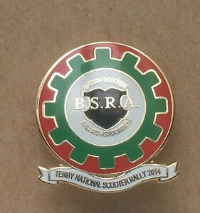 BSRA Tenby National Rally 2014 Collectable Scooter Enamel Pin Badge