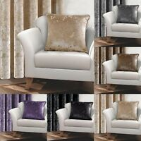 Pair of Crushed Velvet Cushion Covers Luxury Plush Plain Packs Cover Set