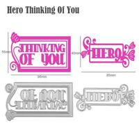 2pcs Hero Thinking Of You Cutting Die Stencil Scrapbook Embossing DIY Card Craft